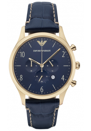 EMPORIO ARMANI Chronograph Blue Dial Blue Leather Men's Watch