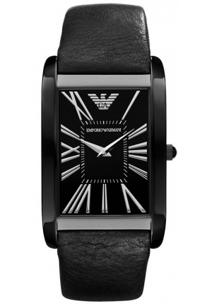 EMPORIO ARMANI Men's Black Leather Strap