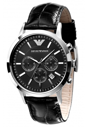 EMPORIO ARMANI Chronograph Black Dial Black Leather Men's Watch 43mm