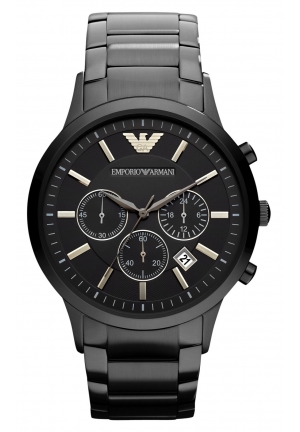 EMPORIO ARMANI Chronograph Black Ion Plated Stainless Steel Bracelet 43mm