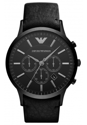 EMPORIO ARMANI Men's Chronograph Black Leather Strap 46mm