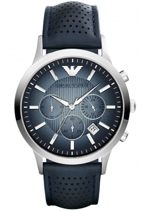 EMPORIO ARMANI Unisex Chronograph Renato Blue Leather Strap Watch 43mm
