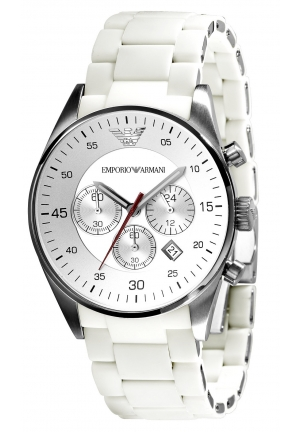 EMPORIO ARMANI Men's Chronograph White Silcone and Stainless Steel Bracelet 43mm