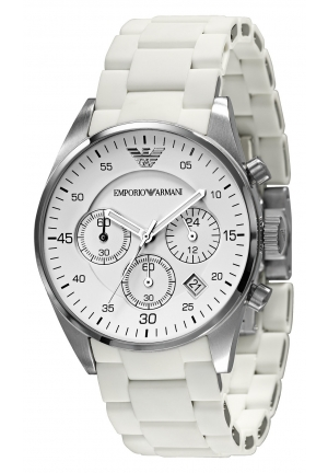 EMPORIO ARMANI Women's Chronograph White Silicone Wrapped Stainless Steel Bracelet 38mm