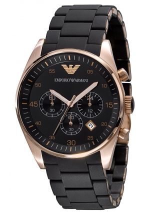EMPORIO ARMANI Stainless-Steel Quartz Watch with Black Dial 43mm