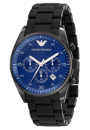 EMPORIO ARMANI Men's Chronograph Black Silicone Wrapped Stainless Steel 41mm