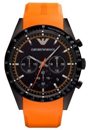 EMPORIO ARMANI Men's Chronograph Orange Rubber Strap 46mm