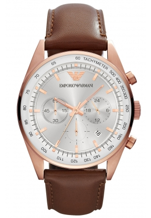 EMPORIO ARMANI Men's Chronograph Brown Leather Strap Watch 43mm