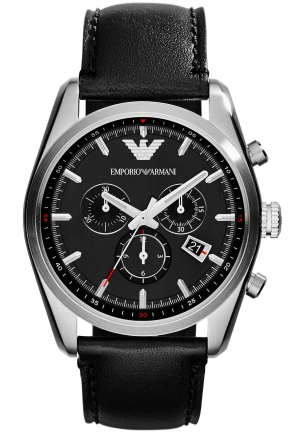 EMPORIO ARMANI Unisex Chronograph Black Leather Strap Watch 43mm