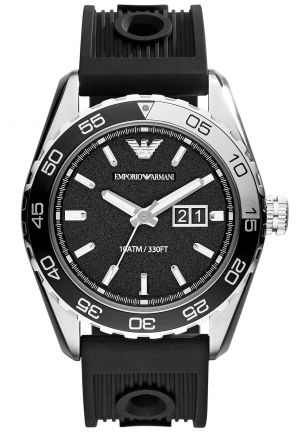EMPORIO ARMANI Men's Black Silicone Strap Watch 46mm