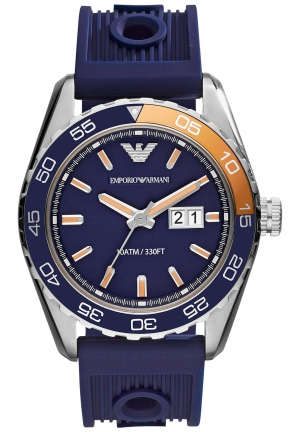 EMPORIO ARMANI Men's Navy Silicone Strap Watch 46mm