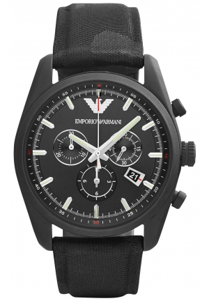 EMPORIO ARMANI Men's Chronograph Black Camouflage Canvas Strap Watch 43mm
