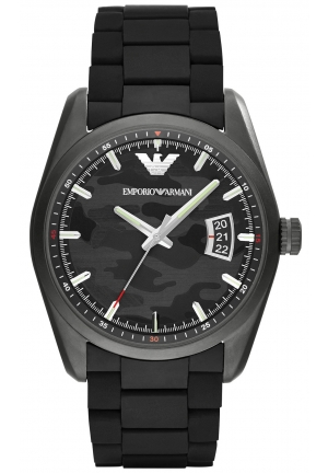EMPORIO ARMANI Men's Black Rubber-Wrapped Stainless Steel Bracelet Watch 43mm