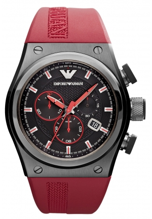 EMPORIO ARMANI Men's Chronograph Red Rubber Strap 48x44mm