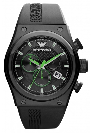 EMPORIO ARMANI Men's Chronograph Black Rubber Strap 48x44mm
