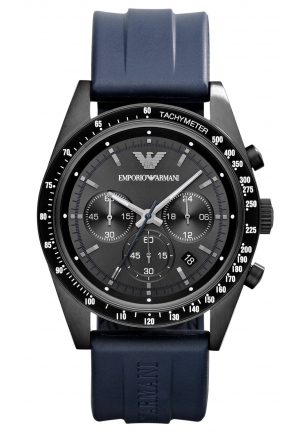 EMPORIO ARMANI Men's Chronograph Blue Rubber Strap 43mm