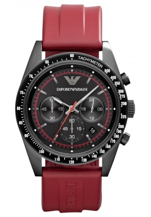 EMPORIO ARMANI Men's Chronograph Red Rubber Strap 43mm