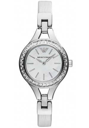 EMPORIO ARMANI Women's White Leather Strap 28mm