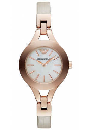 EMPORIO ARMANI Women's Nude Leather Strap 28mm