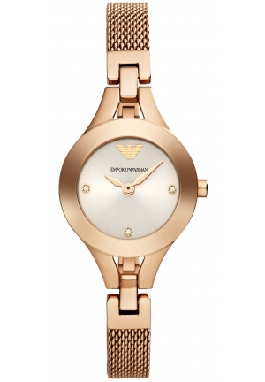 EMPORIO ARMANI Women's Chiara Rose Gold-Tone Stainless Steel Mesh Bracelet Watch 26mm