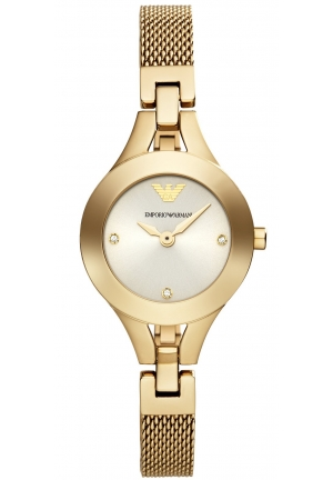 EMPORIO ARMANI Women's Chiara Gold-Tone Stainless Steel Mesh Bracelet Watch 26mm