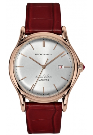 Emporio Armani Red Leather Swiss Watch 42mm