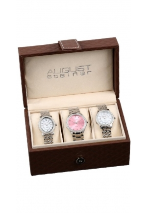 August Steiner Women's AS8063SS Dazzling Diamond Swiss Quartz 3 Watch Set