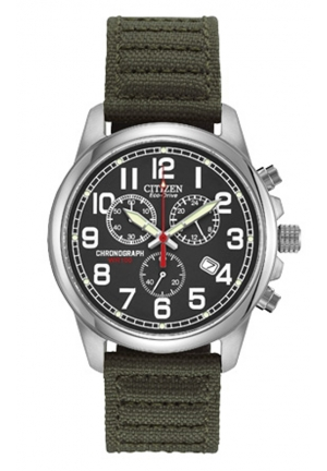 CITIZEN Eco-Drive Stainless Steel Watch with Canvas Band 39mm