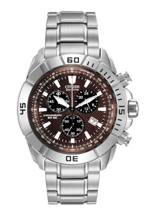 Citizen Men's Stainless Steel Eco-Drive Watch with Brown Dial
