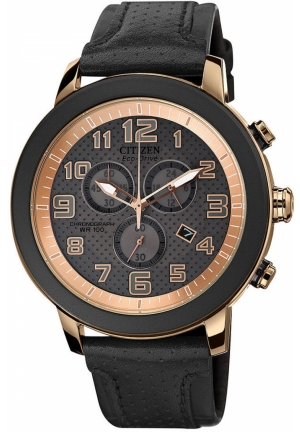CITIZEN Women's Chronograph Drive from Citizen Eco-Drive Black Leather Strap