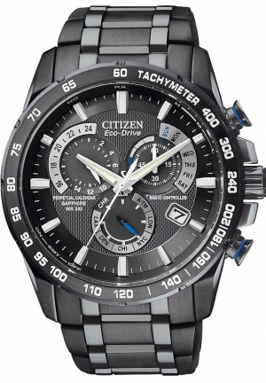 Citizen Men's Perpetual Chrono A-T Black Stainless Steel Watch