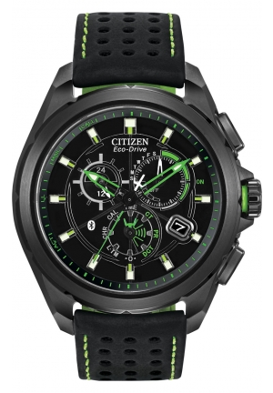Citizen Men's Eco-Drive Black Stainless Steel Watch with Green Accents