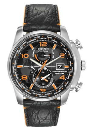 "Citizen Men's ""World Time A-T Limited Edition"" Stainless Steel Eco-Drive Watch with Leather Band"