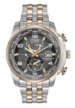 "Citizen Men's ""World Time A-T"" Stainless Steel Two-Tone Eco-Drive Watch"