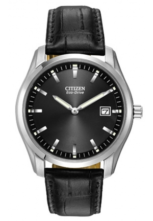 Citizen Men's Eco-Drive Stainless Steel Watch With Black Synthetic Band