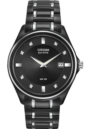 Citizen Men's Eco-Drive Stainless Steel and Diamond-Accented Watch