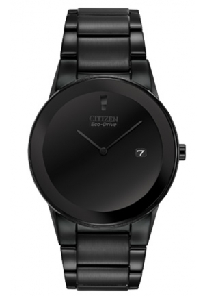 "Citizen Men's Eco-Drive ""Axiom"" Black Stainless Steel Watch with Three-Link Band"