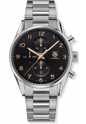 Automatic Chronograph Black Dial Stainless Steel Mens Watch 43mm