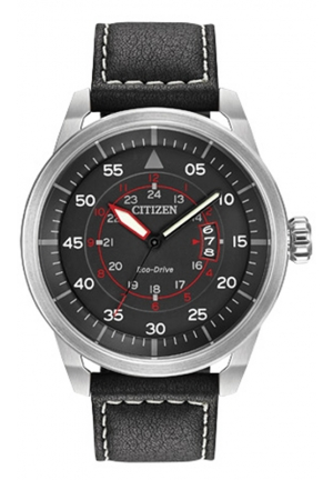Citizen Men's Sport Stainless Steel Watch with Black Leather Band