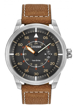 Citizen Men's Avion Stainless Steel Watch with Brown Leather Band