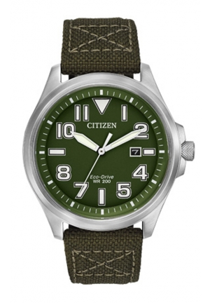 CITIZEN Military Sport Analog Display Japanese Quartz Green Watch 44mm