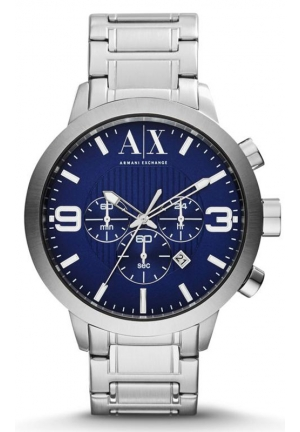 A|X ARMANI EXCHANGE Blue Dial Stainless Steel Mens Watch  49mm