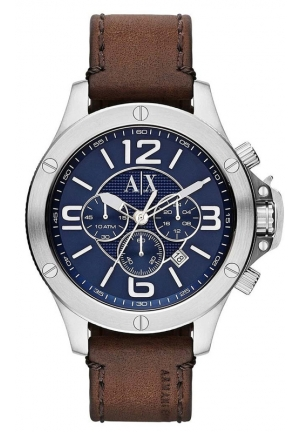 A|X ARMANI EXCHANGE Chronograph Brown Leather Strap Watch 48mm