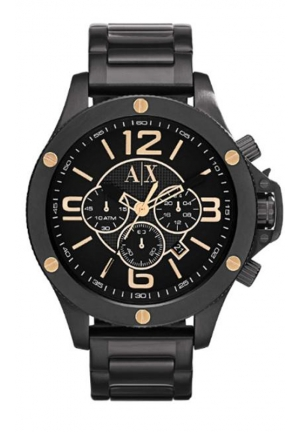 A X ARMANI EXCHANGE Black Dial Black Ion-plated Mens Watch 48MM