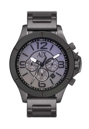 A|X ARMANI EXCHANGE Chronograph Grey Dial Gunmetal Ion-plated Mens Watch 48MM