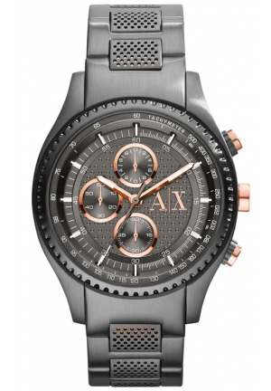 A|X ARMANI EXCHANGE Grey Dial Gunmetal Ion-plated Mens Watch 45 mm