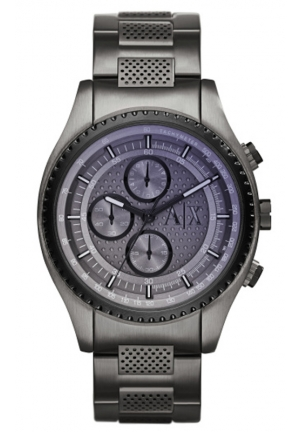 A|X ARMANI EXCHANGE Grey Violet-tinted Dial Gunmetal Ion-plated Mens Watch 45MM