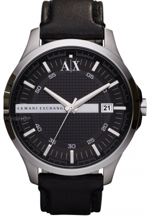 Armani AX Exchange Whitman Black Dial Black Leather Men's Watch