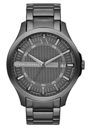 A|X ARMANI EXCHANGE Hampton Grey Textured Dial Gunmetal Ion-plated Mens Watch 46MM
