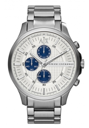 A X ARMANI EXCHANGE Chronograph Silver Textured Dial Stainless Streel Mens Watch 47MM